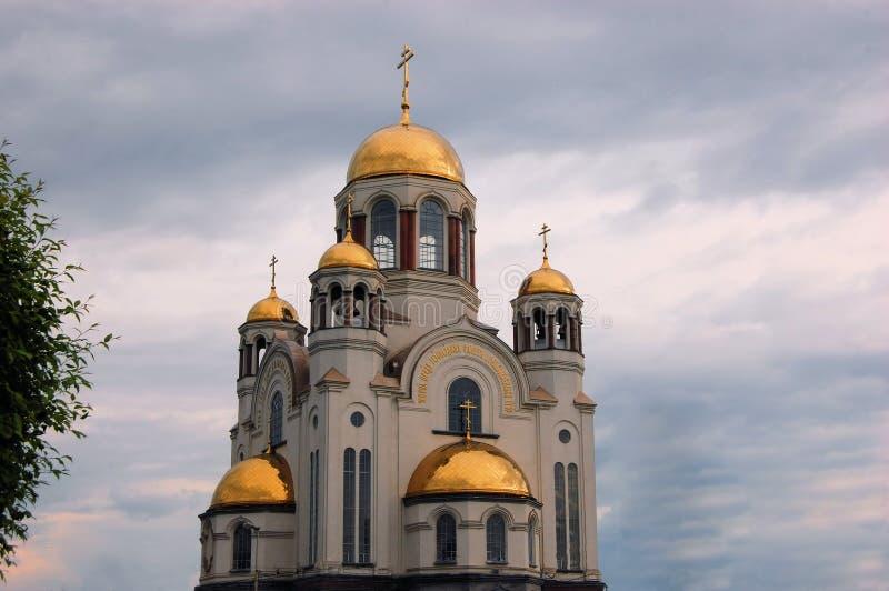 Kyrka på blod i Ekaterinburg, Ryssland arkivbild