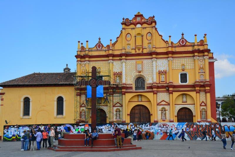 Kyrka San Cristobal de Las Casas Chiapas Mexico royaltyfria bilder