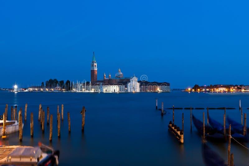 Kyrka San Giorgio Maggiore Venice, Venezia, Italien, Italia, natt arkivbilder
