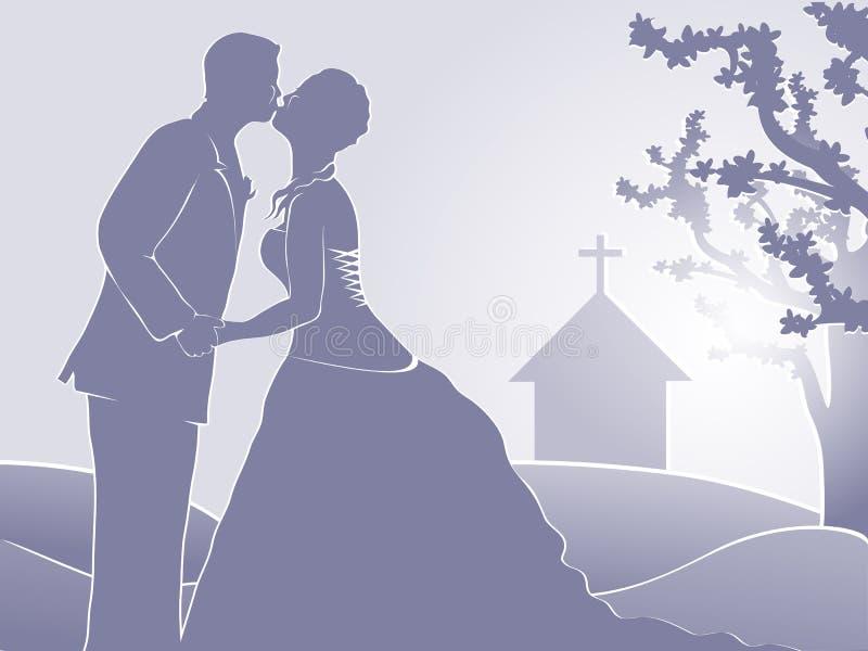 kyrka som att gifta sig bara royaltyfri illustrationer