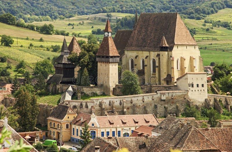 kyrka stärkt gammal saxon royaltyfria foton