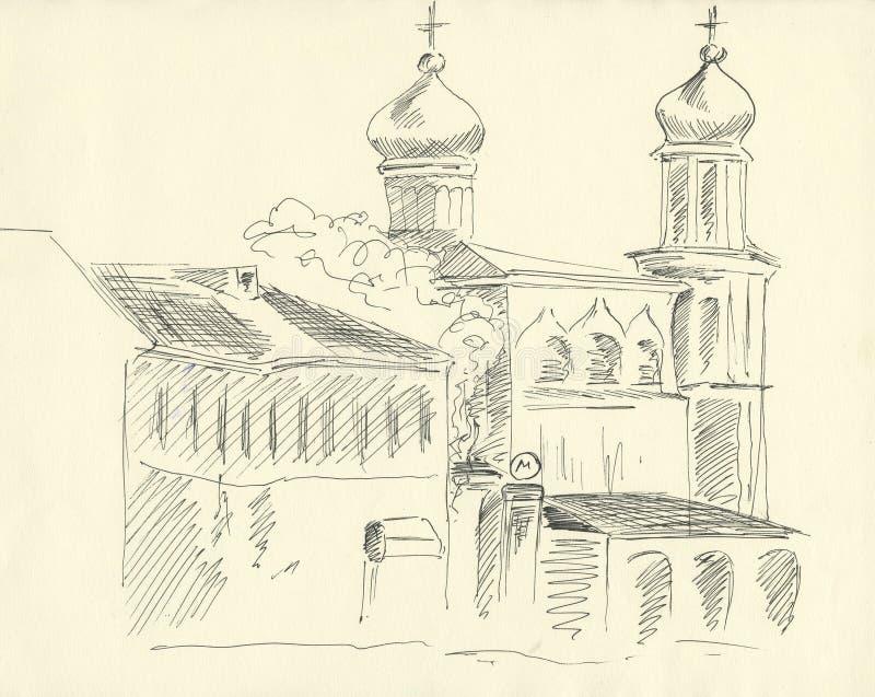 Kyrka, svart ritpenna, kub med kors royaltyfri illustrationer