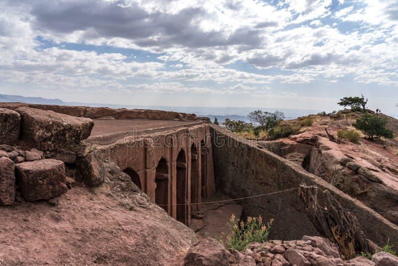 Kyrkan av Gabriel-Rufael - Bete Gabriel-Rufael - i Lalibela, Etiopien fotografering för bildbyråer