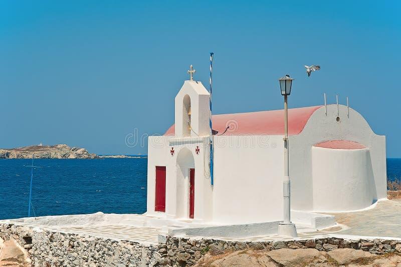 Kyrkan av Mykonos i Grekland royaltyfri fotografi
