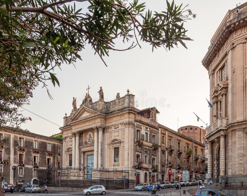 Kyrkan av San Biagio är en katolsk kyrka i Catania fotografering för bildbyråer
