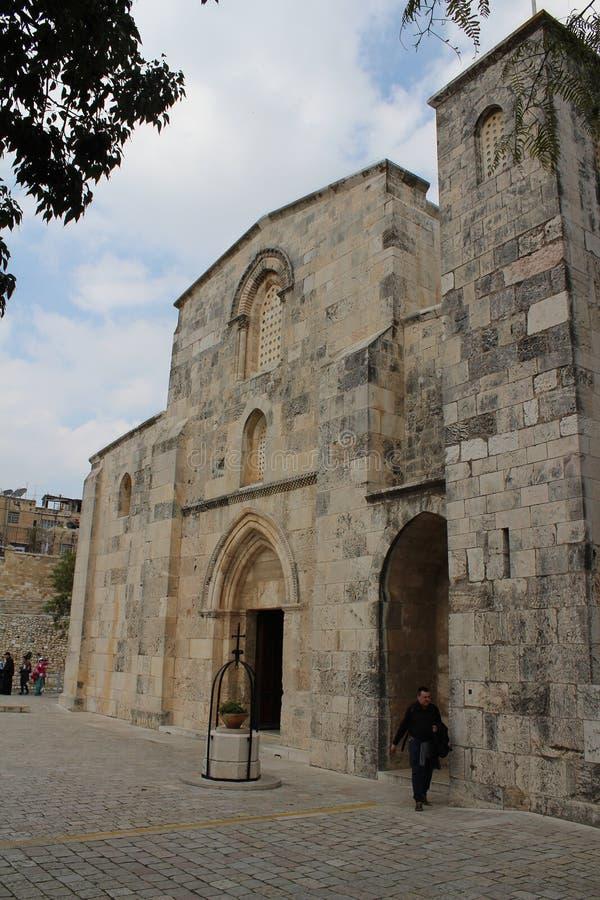 Kyrkan av St Anne, korsfararekyrka i Jerusalem, inre detalj royaltyfri bild