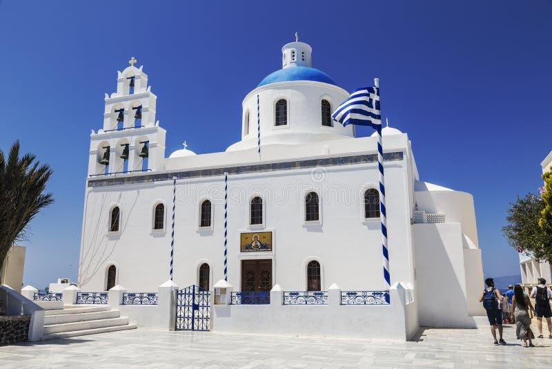 Kyrkan av St Irene i Oia Santorini, arkivbilder