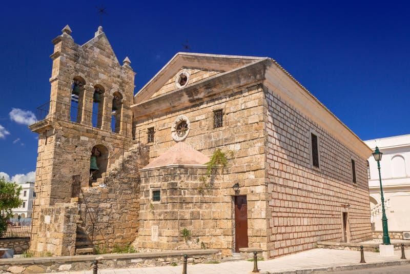Kyrkan av St Nicholas av vågbrytaren i Zakynthos, Grekland royaltyfri foto