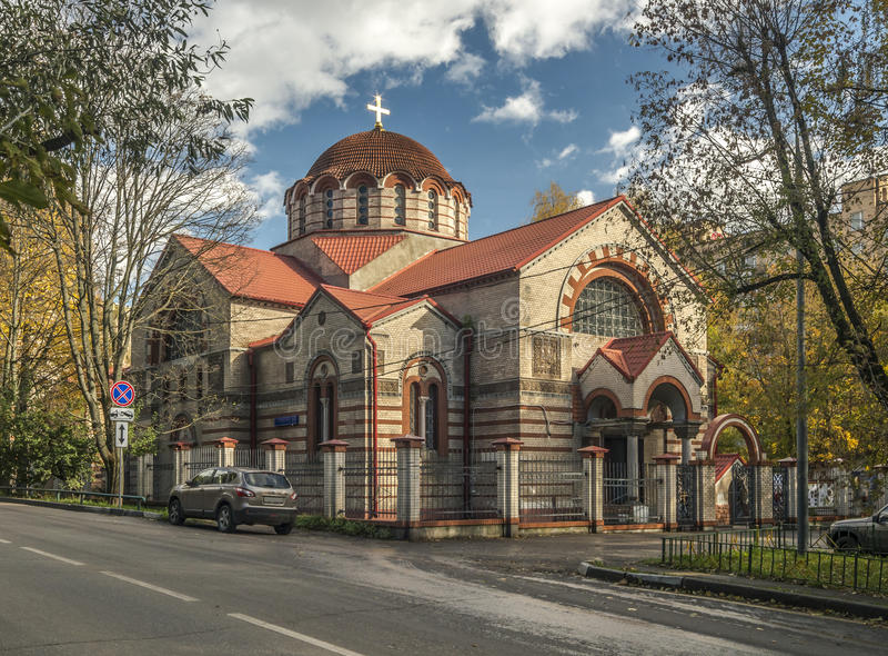 Kyrkan av symbolen av modern av guden tecknet i Kuntsevo royaltyfria foton