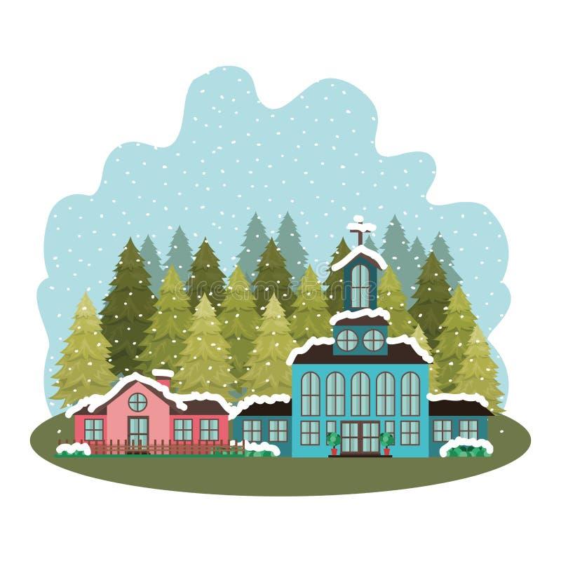 Kyrkan i grannskap med sörjer det fallande snöavatarteckenet vektor illustrationer