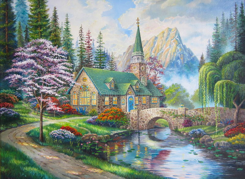 Kyrkan i skogen royaltyfri foto