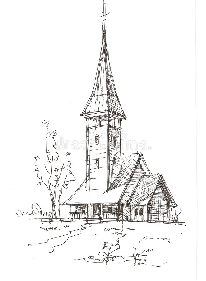 kyrkan skissar trä vektor illustrationer