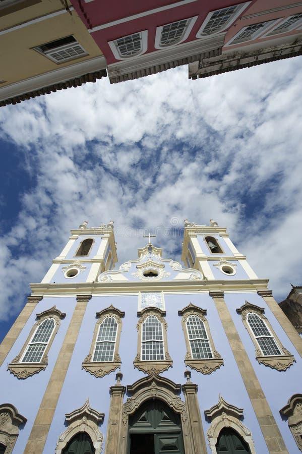 Kyrklig arkitektur Pelourinho Salvador Brazil för koloniinvånare royaltyfri fotografi