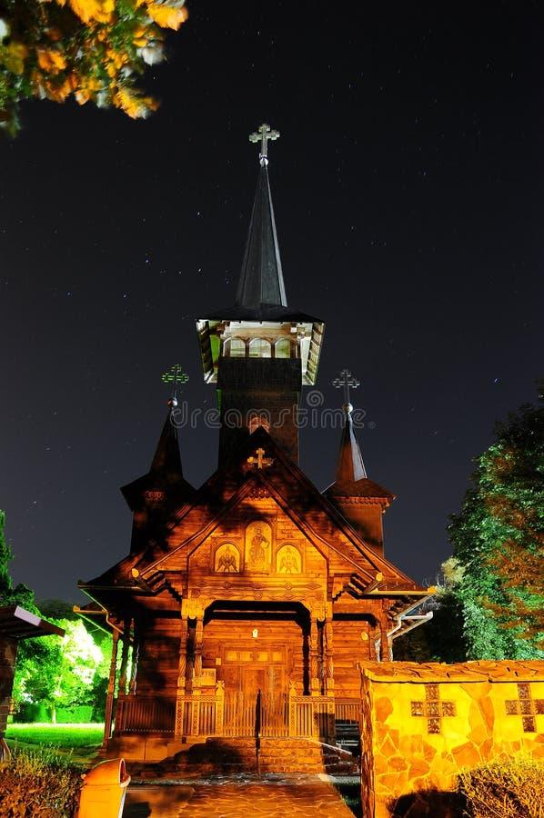 Kyrklig Baile Felix Romania Oradea transilvania i natten royaltyfria foton
