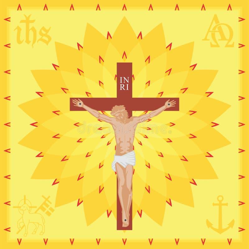 Kyrklig bakgrund för Kristus Fullt kulört stock illustrationer