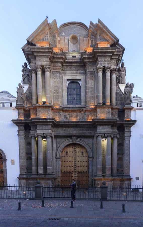 Kyrklig fasad för El Sagrario arkivbild