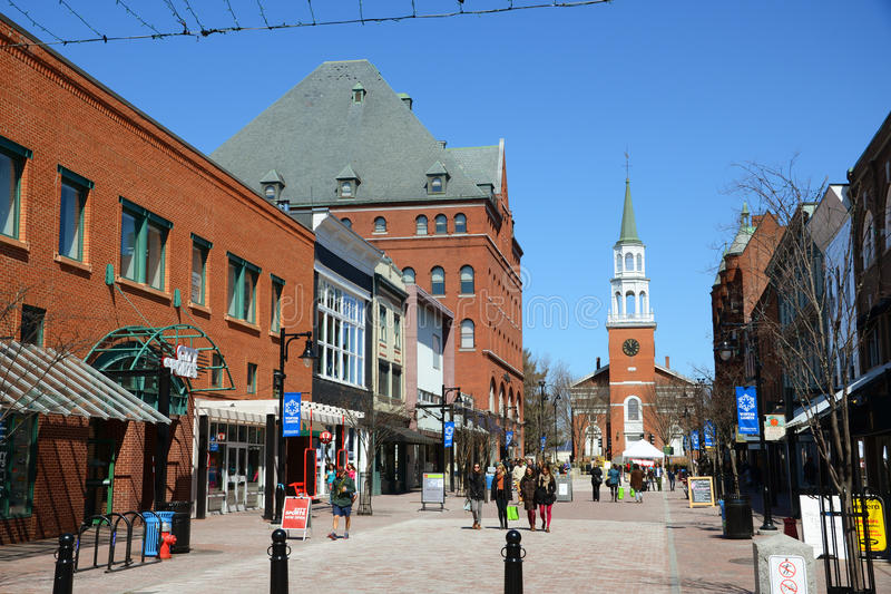 Kyrklig gatamarknadsplats, Burlington, Vermont arkivbilder