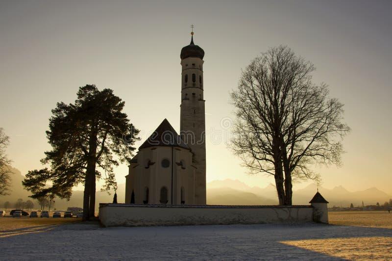 kyrklig germany för bavaria lantlig sydlig vinter arkivfoton