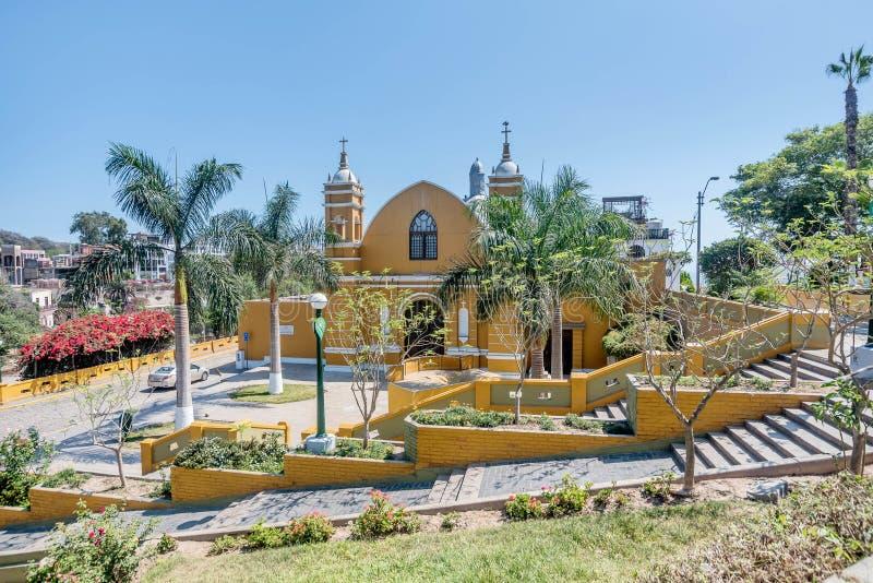 Kyrklig Iglesia för koloniinvånare la Ermita i Barranco, Lima, Peru royaltyfri foto