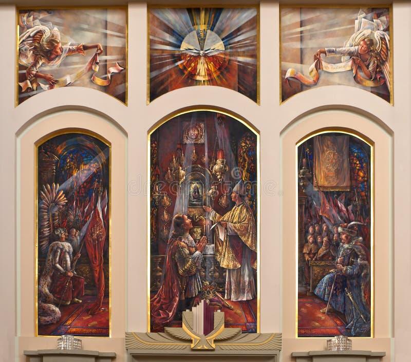 kyrklig inre målningsklosterbroder royaltyfria foton