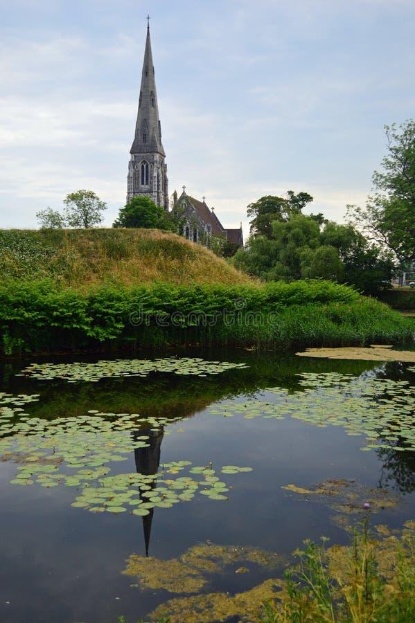 Kyrklig Köpenhamn för engelska arkivbild