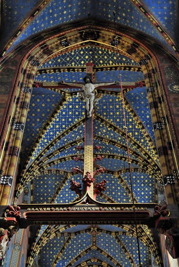 kyrklig krakow mariacki royaltyfria bilder