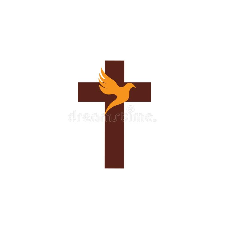 kyrklig kristen linje konstlogodesign, kristna symboler vektor illustrationer