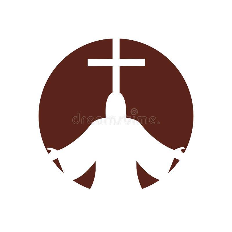 kyrklig kristen linje konstlogodesign, kristna symboler stock illustrationer