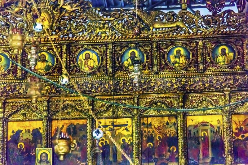 Kyrklig Kristi födelse Betlehem Palestina för grekiska ortodoxa symboler royaltyfri bild