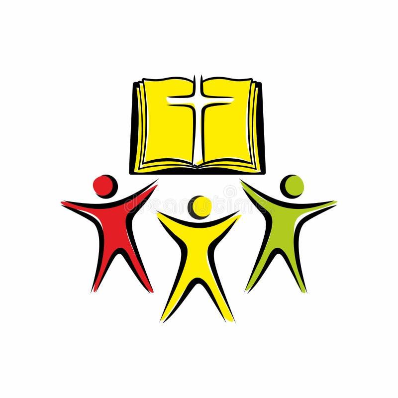 Kyrklig logo Älska guden christ enhet stock illustrationer