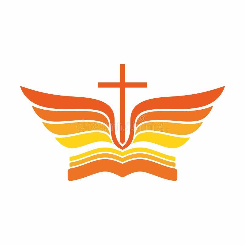 Kyrklig logo Bibel-, Jesus `-kors och ängelvingar stock illustrationer