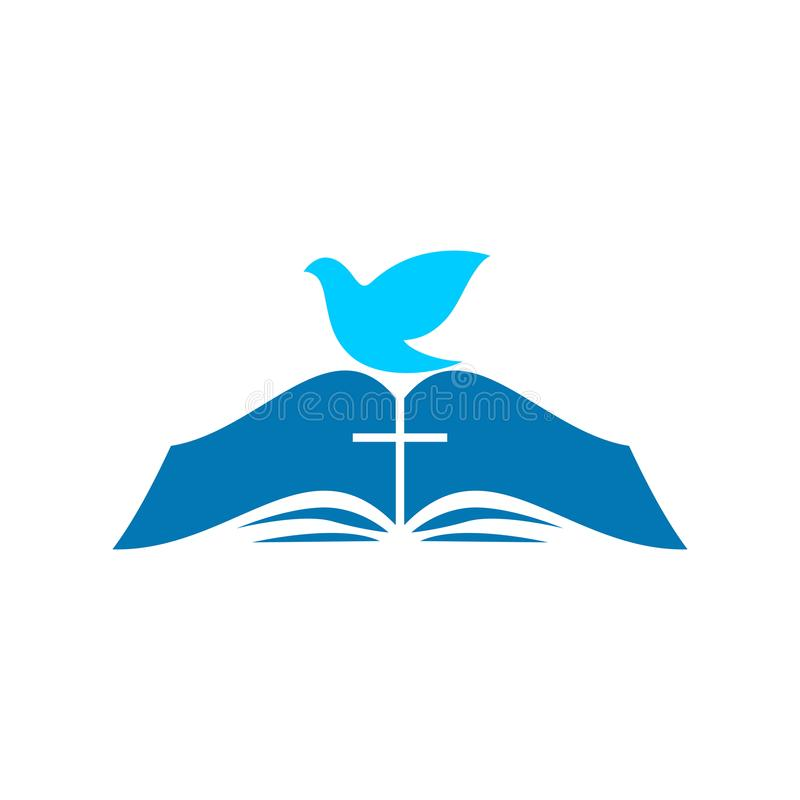 Kyrklig logo Bibeln och duvan royaltyfri illustrationer