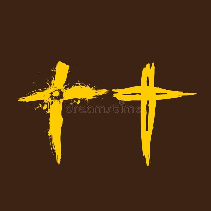 Kyrklig logo En uppsättning av kristna logoer och symboler korsa jesus stock illustrationer