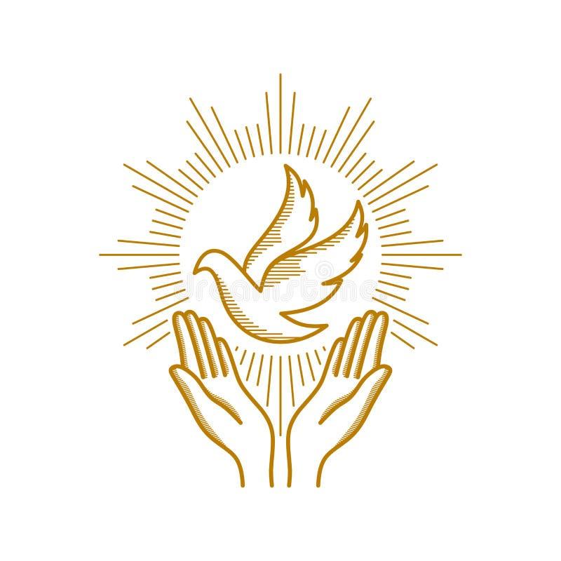 Kyrklig logo Kristna symboler Be händer och duvan - ett symbol av den heliga anden royaltyfri illustrationer