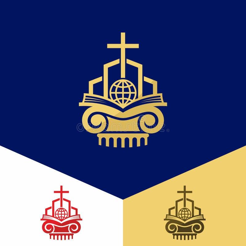 Kyrklig logo Kristna symboler Bibeln, korset av Jesus, räddning av världen royaltyfri illustrationer
