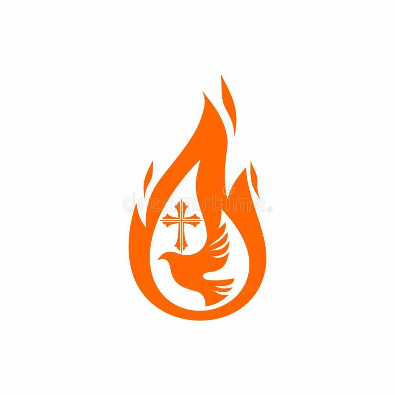 Kyrklig logo Kristna symboler Duva, flamman av den heliga anden och korset av Jesus stock illustrationer