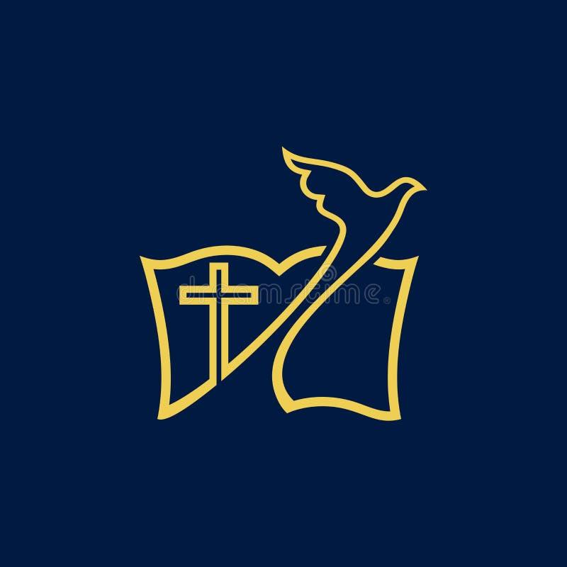 Kyrklig logo Kristna symboler Duva, kors och bibel vektor illustrationer