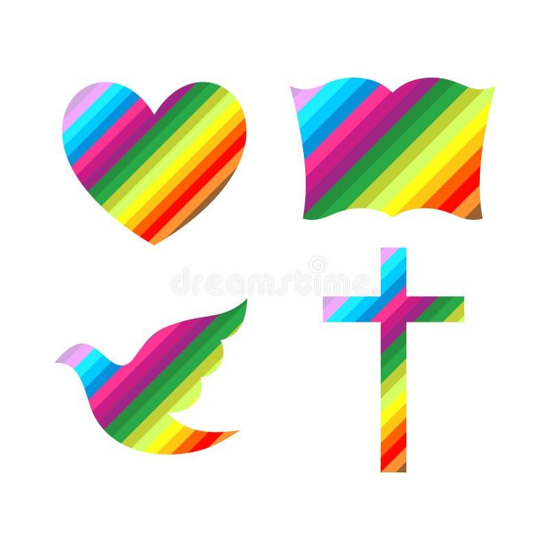 Kyrklig logo Kristna symboler Kors, bibel, hjärta och duva royaltyfri illustrationer