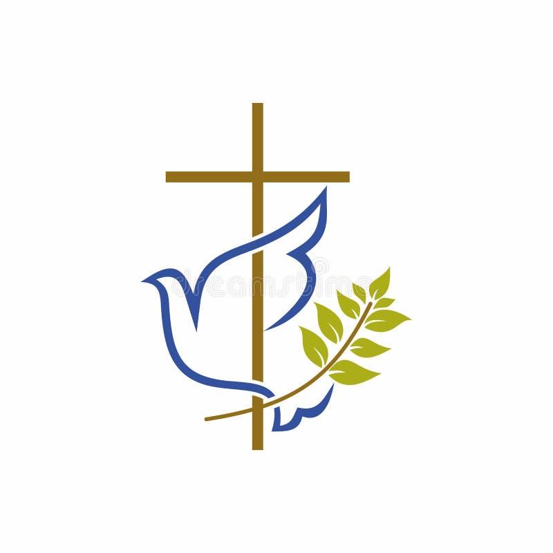 Kyrklig logo Kristna symboler Kors, duva och olivgrön filial royaltyfri illustrationer
