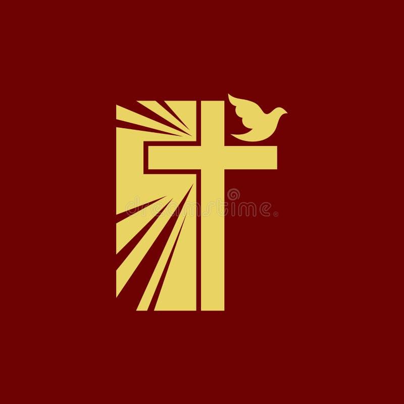 Kyrklig logo Kristna symboler Korset av Jesus, branden av den heliga anden och duvan royaltyfri illustrationer