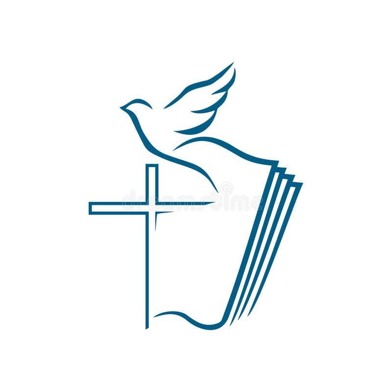Kyrklig logo Kristna symboler Korset av Jesus Christ på bakgrunden av den öppna bibeln och flyga D stock illustrationer