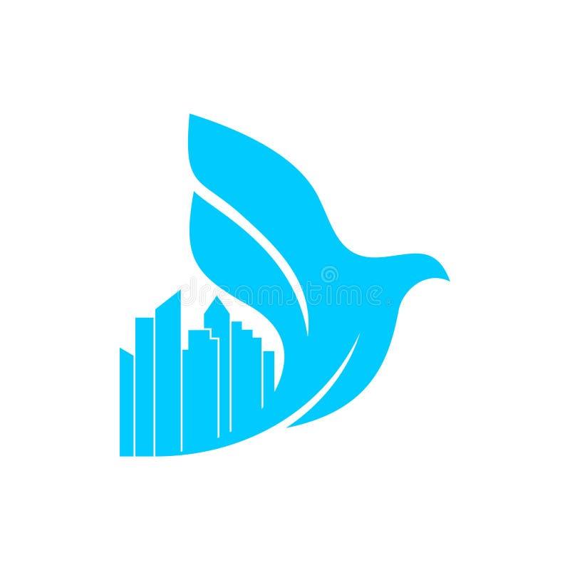 Kyrklig logo Kristna symboler Korset av Jesus och duvan över staden stock illustrationer