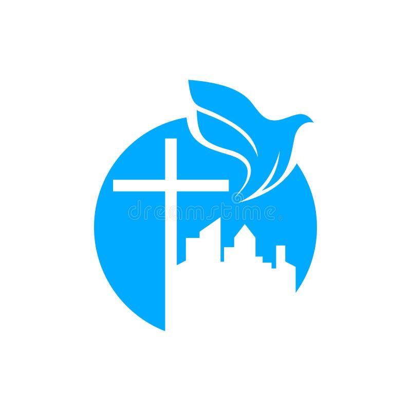 Kyrklig logo Kristna symboler Korset av Jesus och duvan över staden vektor illustrationer