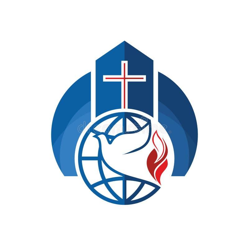 Kyrklig logo Kristna symboler Korset, jordklotet och duvan är ett symbol av den heliga anden vektor illustrationer
