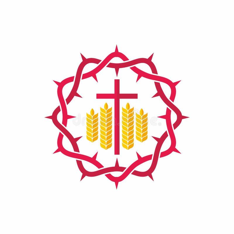 Kyrklig logo Kristna symboler Krona av taggar, korset och wheats vektor illustrationer