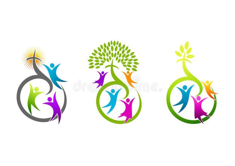 Kyrklig logo, religiös familjsymbol, kristet tecken, naturkorssymbol och design för begrepp för helig ande för tillväxt vektor illustrationer