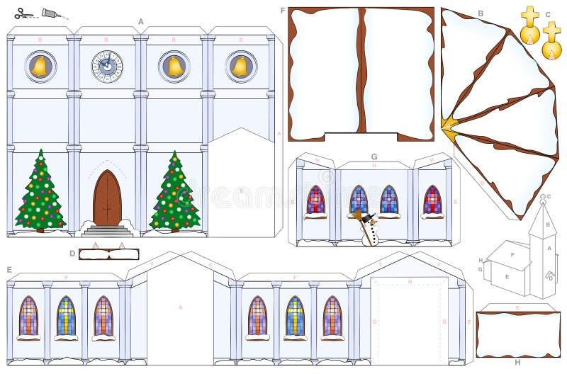 Kyrklig mall för pappers- hantverk för julvintersnö vektor illustrationer