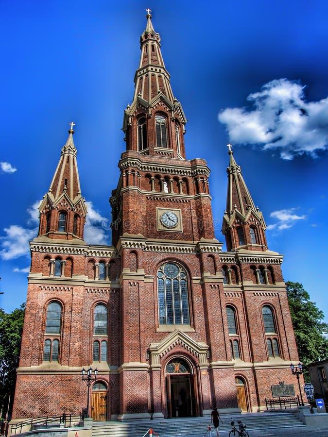 Kyrklig ofSaintJohn evangelist i Lodz i Polen royaltyfri bild