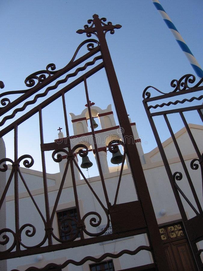 kyrklig orthodoxe santorin arkivfoton