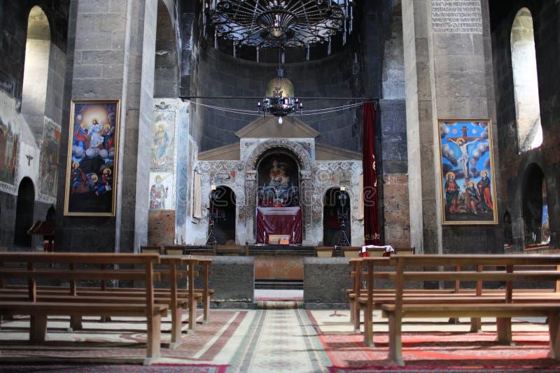 kyrklig pew för armenier royaltyfria foton